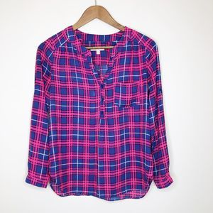 Skies Are Blue Plaid Popover Blouse, XSP